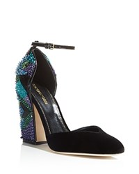 Sergio Rossi Chantal Embellished D'orsay Ankle Strap Pumps Black