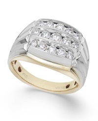 Macy's Men's Diamond Three Row Ring In 10K Yellow And White Gold 1 Ct. T.W.