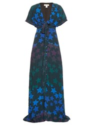 Mara Hoffman Star Print Crepe Maxi Dress Blue Multi