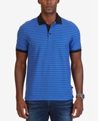 Nautica Men's Big And Tall Classic Fit Striped Polo French Blue