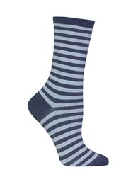 Hot Sox Holiday Striped Socks Blue Heather