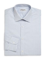 Charvet Regular Fit Grid Check Dress Shirt Blue White
