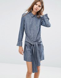 Asos Denim Tie Front Shirt Dress With Button Back Blue