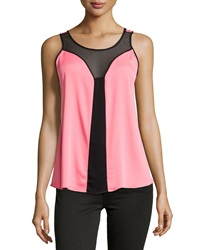 Milly Mesh Inset Scoop Neck Tank Coral Black