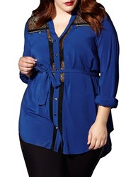 Mblm By Tess Holliday Button Down Long Sleeve Tunic Blue