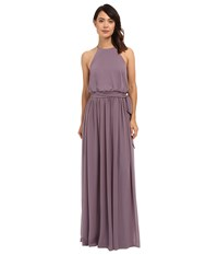 Donna Morgan Alana Drape Blouson Gown Grey Ridge Women's Dress Purple