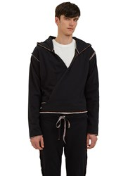 Telfar Raw Layered Hooded Wrap Jacket Black
