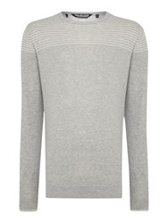 Duck And Cover Stripe Crew Neck Pull Over Jumper Light Grey