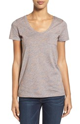 Caslonr Petite Women's Caslon Relaxed Slub Knit U Neck Tee Heather Grey Spacedye