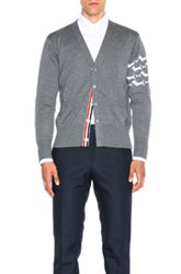 Thom Browne Hector Embroidery Cardigan In Gray