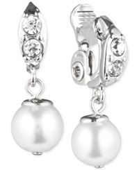 Anne Klein Silver Tone Crystal And Glass Pearl Clip On Earrings