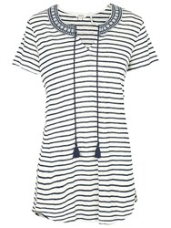 Fat Face Bude Striped Longline Top Navy