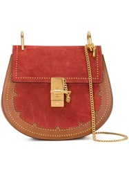 Chloe Studded 'Drew' Shoulder Bag Red