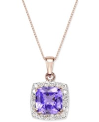 Macy's Tanzanite 2 5 8 Ct. T.W. And Diamond 1 3 Ct. T.W. Framed Pendant Necklace In 14K Rose Gold Purple