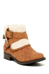 G By Guess Duane Faux Shearling Foldover Bootie Brown