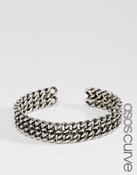 Asos Curve Curb Chain Cuff Bracelet Antique Rhodium Silver