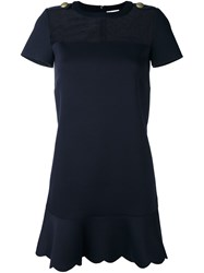 Red Valentino Sheer Panel Flared Dress Blue