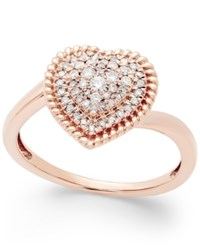 Macy's Diamond Heart Cluster Ring 1 4 Ct. T.W. In 14K Rose Gold