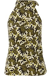 Etro Floral Print Silk Crepe Top Green