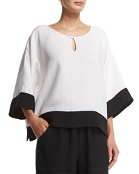 Eskandar 3 4 Sleeve Contrast Trim Linen Tunic White Black