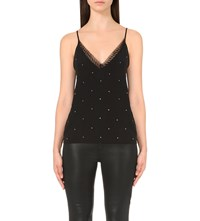 The Kooples Lace Trimmed Crepe Camisole Black