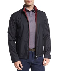 Ermenegildo Zegna Reversible Full Zip Jacket Navy