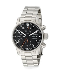 Fortis Pilot Professional Stainless Steel Black Chronograph Watch Silver Black