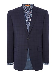 Simon Carter Puppytooth Check Suit Jacket Light Blue