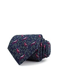 Thomas Pink Bird On Branch Woven Classic Tie Navy Pink