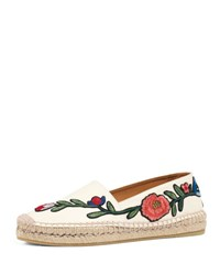 Gucci Pilar Embroidered Espadrille Flat White Pattern