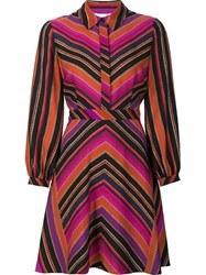 Diane Von Furstenberg Striped Shirt Dress Pink Purple