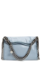 Stella Mccartney 'Mini Falabella Shaggy Deer' Faux Leather Tote Blue Duckblue With Silver