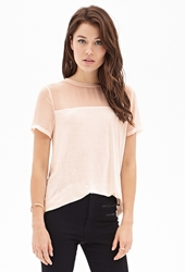 Forever 21 Sheer Paneled Jersey Tee Peach