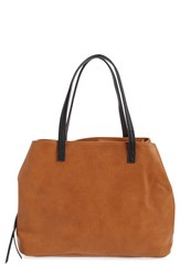 Sole Society Faux Leather Tote Brown Cognac