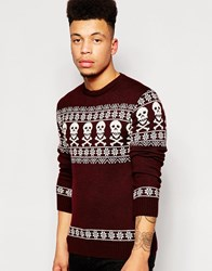 Vacant Christmas Jumper In Fairisle Red