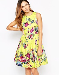 Warehouse Yellow Floral Prom Dress