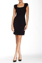 French Connection Georgia Short Sleeve Scoop Neck Dress Black