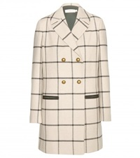 Tory Burch Plaid Wool Blend Coat Black
