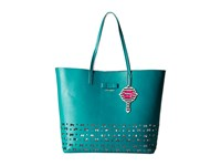 Betsey Johnson Laser Tag Tote Turquoise Tote Handbags Blue
