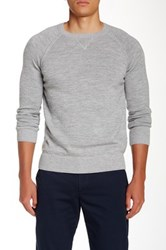 Apolis Genuine Suede Leather Elbow Patch Sweater Gray