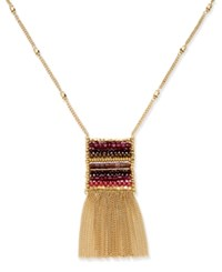 Inc International Concepts Gold Tone Woven Bead Fringe Pendant Necklace Only At Macy's Berry