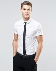 Asos Skinny Shirt In White With Short Sleeves And Black Tie Pack Save 15 White
