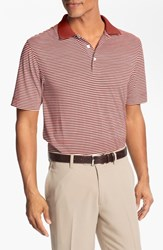 Men's Big And Tall Cutter And Buck 'Trevor' Stripe Drytec Polo Cardinal Red White