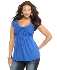Soprano Trendy Plus Size Ruched Empire Top Snorkel