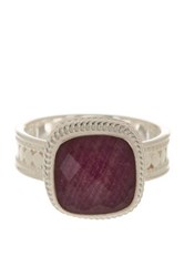 Anna Beck Sterling Silver Ruby Cushion Ring Metallic