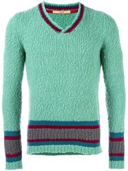 Nuur Striped V Neck Jumper Green