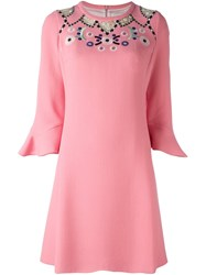 Peter Pilotto Embroidered Neck Dress Pink Purple