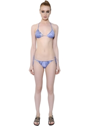 Diesel Embellished Denim Printed Lycra Bikini Blue