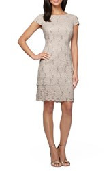 Alex Evenings Women's Sequin Tiered Lace Sheath Dress Taupe