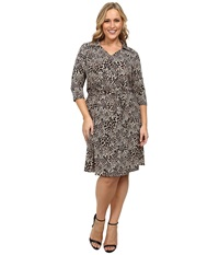 Vince Camuto Plus Plus Size 3 4 Sleeve Faux Wrap Dress Palomino Women's Dress Khaki